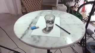 نقاشی سه بعدی-لیوان آب واقعی