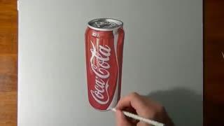 نقاشی  3بعدی  کوکا کولا