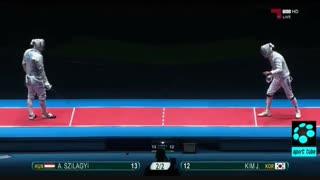 دیدار اول نیمه نهایی شمشیربازی : مجارستان ۱۵-۱۲ کره جنوبی