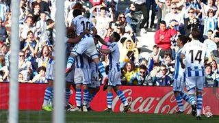 گل اول رئال سوسیداد به رئال مادرید توسط ماریانو در دقیقه 26